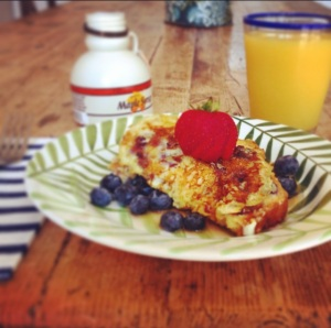 french toast with juice