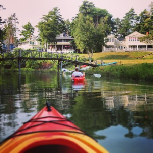 kayak with houses