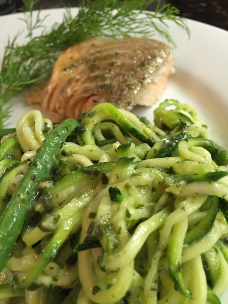 pesto zoodles plated